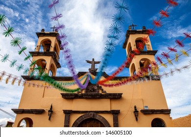 Old colonial church in Mexico, San Miguel de Allende. Mexico travel background.