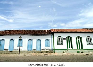 Old colonial houses in Cidade de Goias Brazil