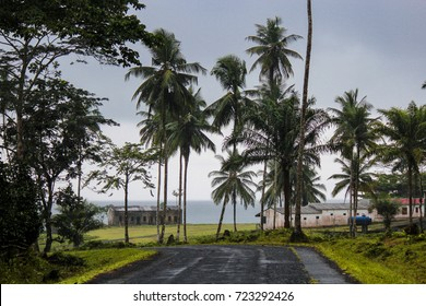 Old colonial houses and facturies in the island of Sao Tome and Principe - Africa
