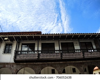 Old colonial wooden balcony in the Main Square of Lima, Peru.