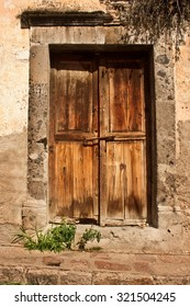 Old Colonial Wooden Door Entry in San MIguel de Allende, Mexico