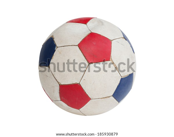 Old color football isolated on white background.