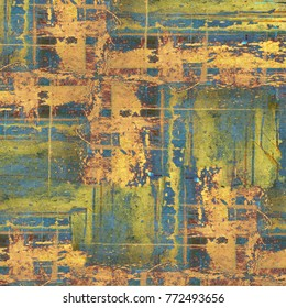 Old Color Grunge Vintage Weathered Background. Abstract Messy Antique Texture With Retro Pattern. Modern Futuristic Painted Wall For Backdrop, Wallpaper, Banner With Copy Space. Close Up Square Image