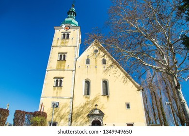 Old colorful baroque church in Samobor town in Croata