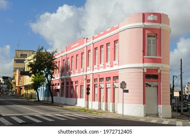 Old and colorful buildings in the historic center of João Pessoa, State of Paraíba, Brazil, on August 23, 2012.