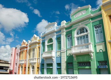 Old and colorful buildings in the historic center of João Pessoa, State of Paraíba, Brazil, on July 24, 2012.