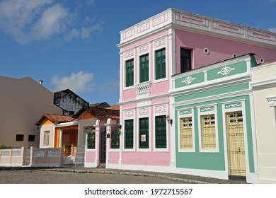 Old and colorful buildings in the historic center of João Pessoa, State of Paraíba, Brazil, on July 14, 2012.