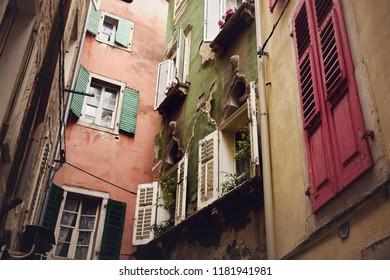 Old colorful buildings in Piran, Slovenia
