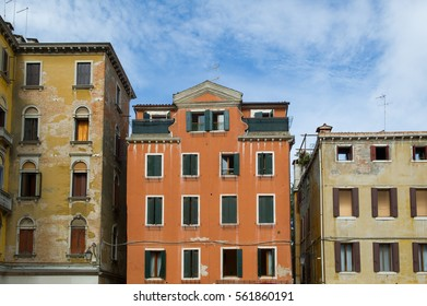 old colorful facades of Venice, Italy