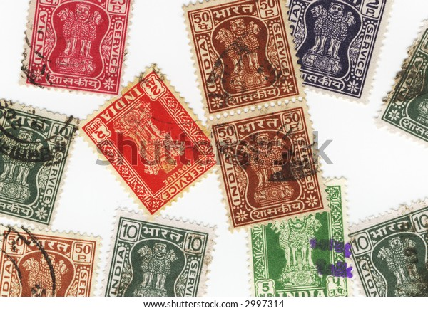 Old colorful stamps from india