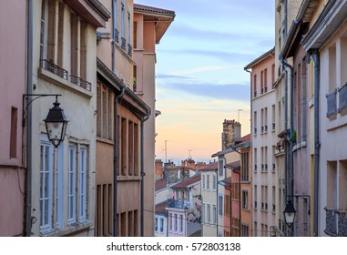 Old and colorful street in Croix Rousse, an old part of the city of Lyon, France.