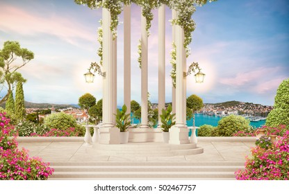 The old columns with flowers, sea view