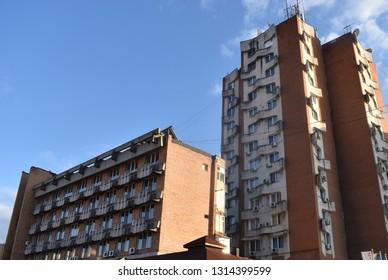 Old communist buildings in Downtown of Targu Jiu - Romania