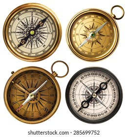 old compass collection isolated on white