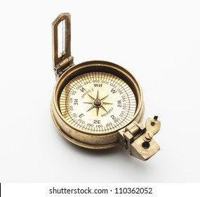old compass isolated on white background
