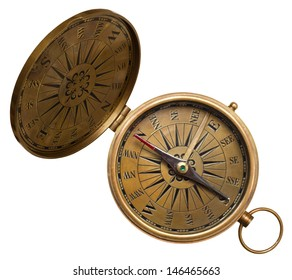 old compass isolated on the white background