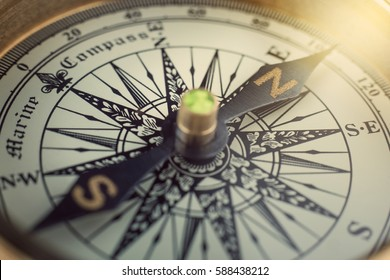 Old compass. Macro shot