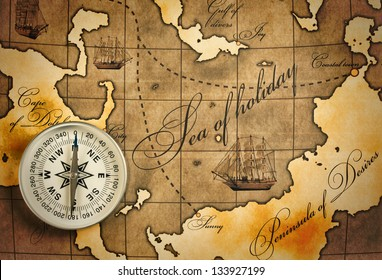 old compass on amap