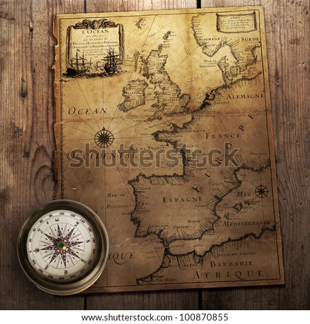 Map Of England France And Spain.Old Compass On Vintage Map France Stock Photo Edit Now 100870855