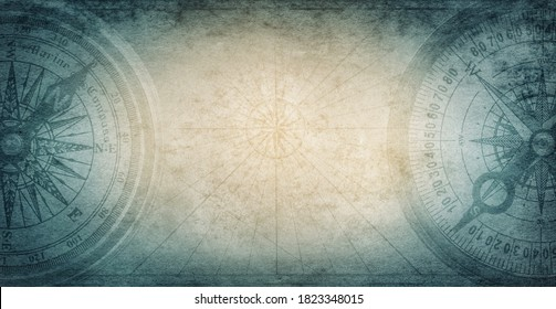 Old compass on vintage paper background. Adventure, discovery, navigation, geography, education, pirate and travel theme concept background. History and geography team. Retro stale.