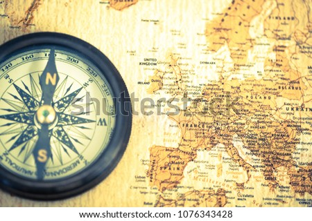 Old Compass On Vintage World Map Stock Photo Edit Now 1076343428