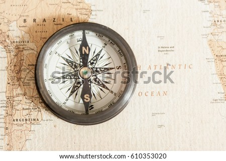 Old Compass On Vintage World Map Stock Photo Edit Now 610353020