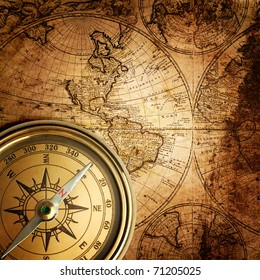 old compass and rope on vintage map 1746