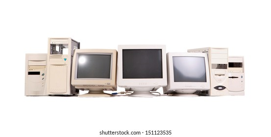 old computer in horizontal composition