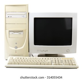 Old computer isolated on white