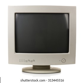 Old computer monitor isolated on white