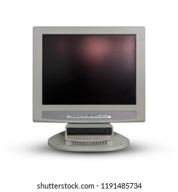Old computer monitor  on white background.
