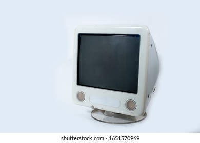 Old Computer Monitor white Isolated on White Background.