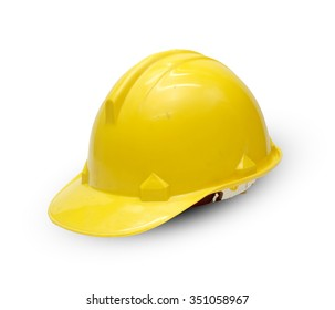 Old construction Helmet on white background