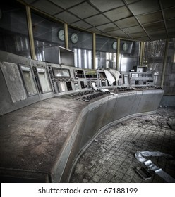 An old controle room of an abandoned power plant