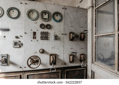old controlroom in an abandoned factory