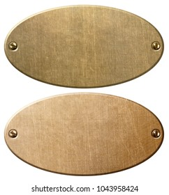 old copper and brass oval metal plates with clipping path 3d illustration