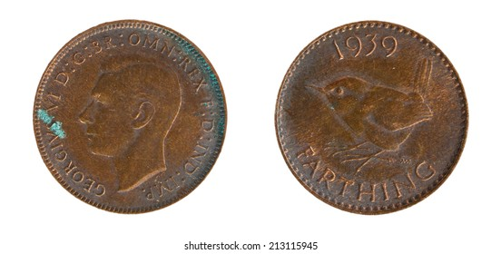 Old copper coins of England farthing 1939