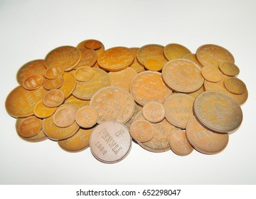 Old copper coins Finland with Russia
