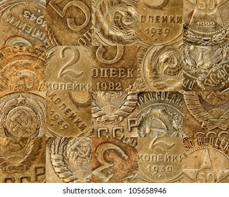 Old copper coins of the Soviet - a collage
