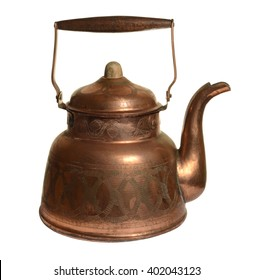 Old copper kettle isolated on white background