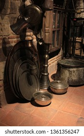 old copper pots