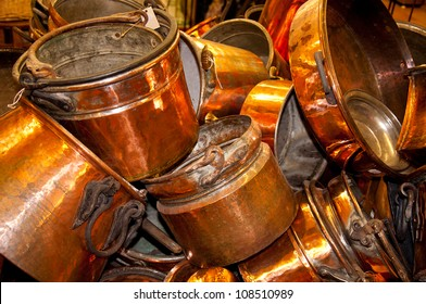Old copper pots and pans