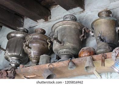 Old copper samovars