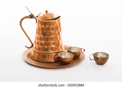 Old copper set for coffee