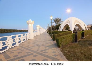 The old corniche in Abu Dhabi, United Arab Emirates