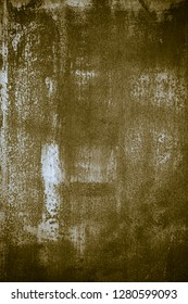 Old corroded metal wall background with green paint. Abstract the surface texture of the old metal.