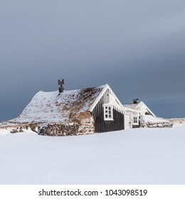 Old cottage in in Iceland during wintertime.