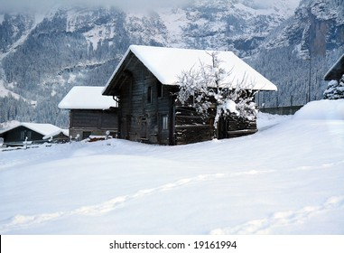 An old cottage in the Swiss Alps.