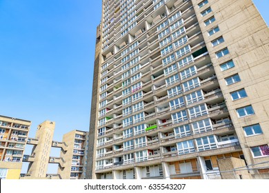 Old council housing block, Balfron Tower, in East London