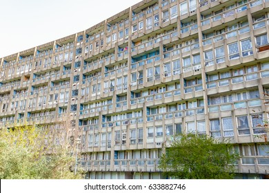 Old council housing block, Robin Hood Gardens, in East London